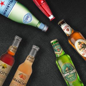 Getränke bei Hoffmann: San Pellegrino, Lurisia, Birra Moretti, San Bitter, Säfte